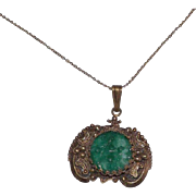 12 kt Gold Filled Carved Jade Pendant With Chain