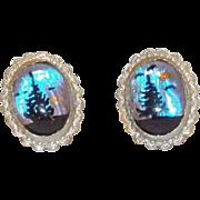 Pretty Sterling Silver & Butterfly Wings Reverse Painted Screwback Earrings