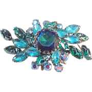 Judy lee Molded Glass Blue & Green Rhinestones Flower Spray Brooch