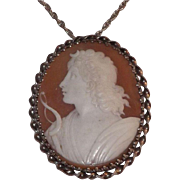 Large Carved Shell Cameo pendant on Sterling Silver Chain