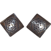 Wonderful TF Signed Sterling Silver Mexico Square With Geometric Pierced Earrings