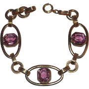 Stunning Gold Filled Open Links Pink Glass Stones Bracelet