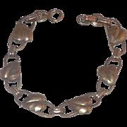 Pretty Binder Brothers Gold Filled And Sterling Leaves Etched Bangle Bracelet