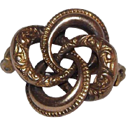 Delightful Victorian Sterling Silver & Heavy gold Overlay Love Knot Brooch