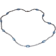 Lovely  Blue & Clear Faceted Crystals necklace