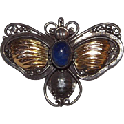 Wonderful Victorian 14 kt Yellow Gold And Sterling Silver Bee Or Fly Pin With Lapis ...