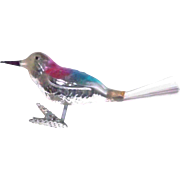 Sweet Mercury Glass Clip On Bird Christmas Ornament