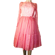 Lovely Vintage 1950's Pink Party Dress Lace With Sheer Overlay , Full Swing Skirt