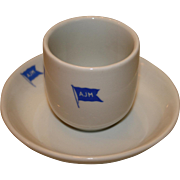 SOLD Vintage Maritime Cup And Saucer From AJ Morland Line, Arendal, Norway