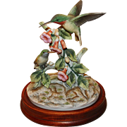 Ruby Throated Hummingbird Pair Japanese Andrea by Sadek Bisque Finish