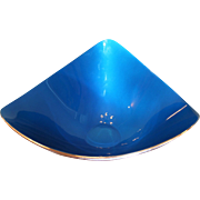 Reed & Barton #261 Triangular Blue Enamel & Silver Plated Bowl