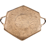 Dual Handled Silver Plate Tray by Weidlich Brothers - Tapestry Design 3516