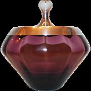 Vintage Purple Lindshammar Glass & Gorham Sterling Covered Dish