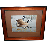 Vintage Watercolor - Two Canada Geese by Listed Artist Arthur Cook