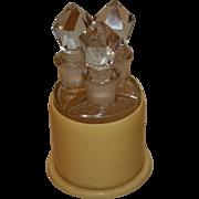 SALE Vintage Triple Fragrance Bottles With Vegetable Ivory Holder