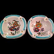 Vintage Italian Deruta Pottery Ashtray Pair