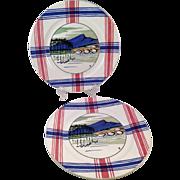 SALE Vintage Matched Pair of Ramuntcho Faienceries de Sarreguemines Plates