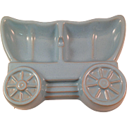 Vintage Frankoma Pottery Covered Wagon Sky Blue Ashtray