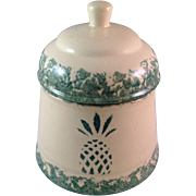 Buttermilk Acres Spongeware Pottery Lidded Cannister