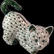 Vintage Andrea by Sadek Green & White Fishnet Cat Bank