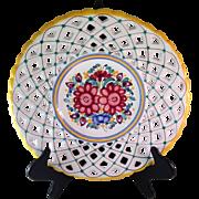 Modra Majolika Czechoslovakian Pierced Pottery Plate