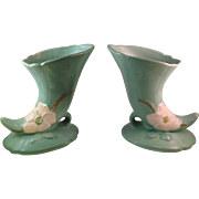 Vintage Weller Pottery Wild Rose Cornucopia Vases Matched Pair