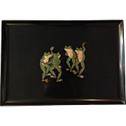 SALE Vintage Courac Dancing Frogs Serving Tray