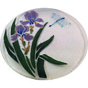 Peggy Karr Fused Glass Retired Iris and Dragonfly Plate