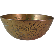 Vintage Chinese Brass Engraved Bowl