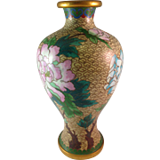 Vintage Cloisonne Brass Floral with Buttery Chinese Vase