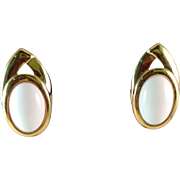 Vintage Trifari Gold Plated with White Clip Earring