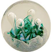SOLD Vintage Caithness Art Glass Miniature Moonflower '97 Paperweight with Box