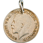 1920 George V 3 Pence Coin Pocket Watch Fob Charm Love Token