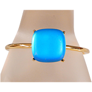Exquisite Givenchy Gold Plated Domed Ocean Blue Lucite Bangle Bracelet