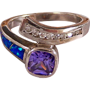 Sterling Silver Square Tanzanite Solitaire Fire Opal Ring Size 8 1/4