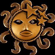 Vintage Eugene Joseff of Hollywood Iconic Sun God Brooch