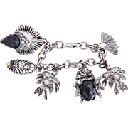 Vintage PAM Silver Tone Thai Dancer Princess Charm Bracelet