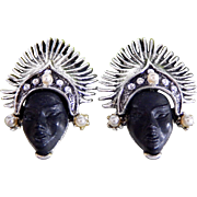 Vintage PAM Silver Tone Thai Dancer Princess Clip-on Earrings
