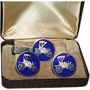 SALE Model T Ford Royal Blue Vintage Cufflinks and Tie Clip Set in Case