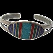 SALE Sterling Inlaid Lapis Coral Turquoise Cuff Bracelet Coleman Black Hills