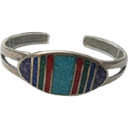 SALE Sterling Inlaid Lapis Coral Turquoise Cuff Bracelet Coleman Black Hills