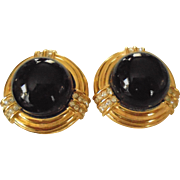 SALE Ciner Sophisticated Black Domed Rhinestone Accent Clip Earrings