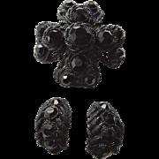 SALE Rare HAR Japanned Rhinestone All Black Maltese Cross and Earrings Set