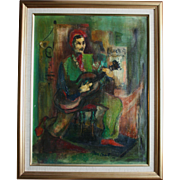 SALE Mid-Century Cubist Oil Painting Man With Guitar Signed