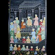 SALE Weeklong Fine Art Sale! Large Original Mughal Painting on Silk Palace Scene Floral Border
