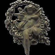 SALE Artistic Cherub Angel 925 Sterling Silver Brooch Pendant