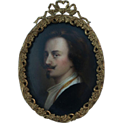 SALE Antique Miniature Painting on Porcelain after Anthony Van Dyck Handsome Portrait