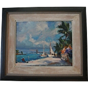 SALE Emile A. Gruppe (1896 ~ 1978) Original Oil Painting Rare Tropical Scene