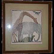 SALE Helen Siegl Book Cover Art Original Woodcut The Birds The Beasts Signed