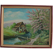 SALE 1920s Oil Painting Springtime by Footbridge Country Landscape
